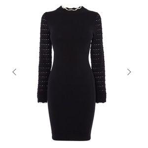 Karen Millen Black Fitted Knit Dress Small